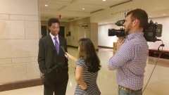 Andrew Gayle is interviewed by NBC Universal in Washington D