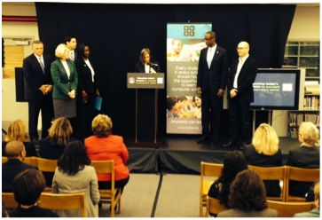 (left to right) Gary Chartrand, Chair, State Board of Education; Pam Stewart, Chancellor of Public Schools, Florida Department of Education; Jesse Panuccio, Executive Director, Florida Department of Economic Opportunity; Patricia Good, School Board Chair; Superintendent Robert W. Runcie; and Hadi Partovi, Co-Founder and CEO of Code.org.