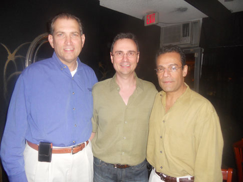 Dr. David Brancati, Roman Schepis and Mo Dhanji at the Carpe Vinum dinner at the Hi-Life Cafe.