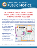 SW 11th Avenue Swing Bridge Closed Through December