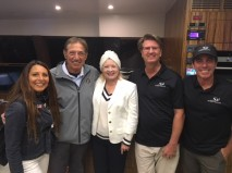 LtoR Photo Courtesy of TransMedia Group:  Adrienne Mazzone, President, TransMedia Group; Joe Namath, Football Hall of Famer and American Icon; Judy Hatfield, Heir of the Hatfield from Hatfield & McCoy's; Michael Kohler, Creator & Founder and  Global CEO of Silent Yachts ( SilentYachts.us); Kent Aguero, US Exclusive Distributor, SilentYachts.us